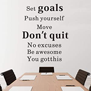 """VODOE Quote Wall Decals, Office Wall Decals, Inspirational Gym Motivational Fitness Sports Bedroom Classroom School Teens Home Art Decor Vinyl Stickers Set Goals Push Yourself Don't Quit 16""""x20.3"""""""