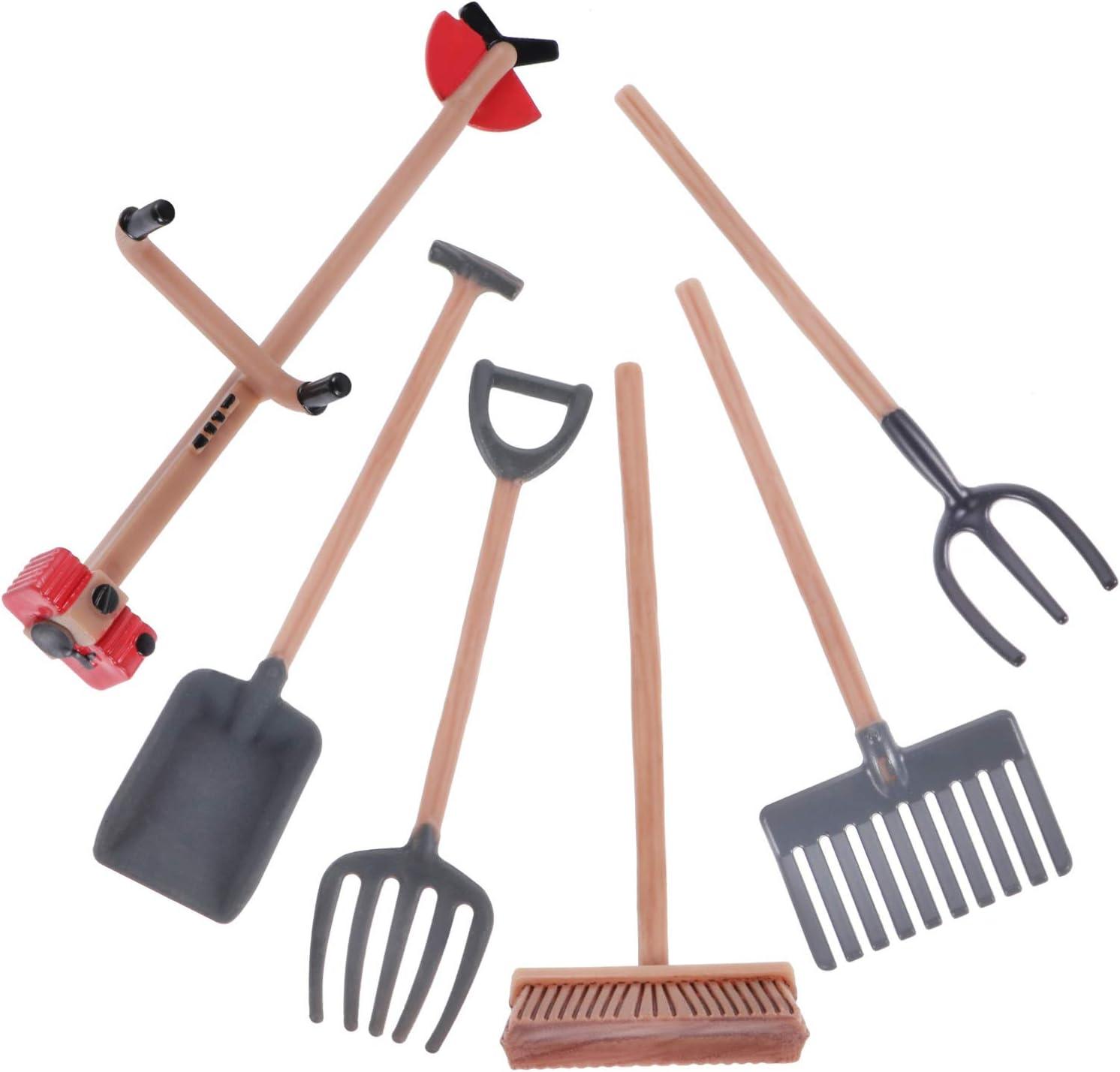 DOITOOL 6Pcs Mini Sand Tool Kids Sand Table Tool Mini Sand Rake Shovel Dollhouse Miniature Mini Spade Shovel Harrow Gardening Tool Set Zen Garden Sand Table Tool Set for Kids Sand Table Toys