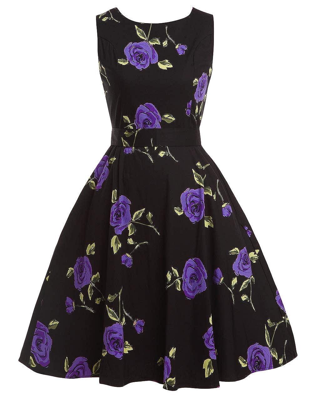 TALLA 4XL. FAIRY COUPLE 50s Vestido de Partido Floral Retro del Oscilación del Cóctel del Vintage con el Arco DRT017 Rosa Negro Floral 4XL