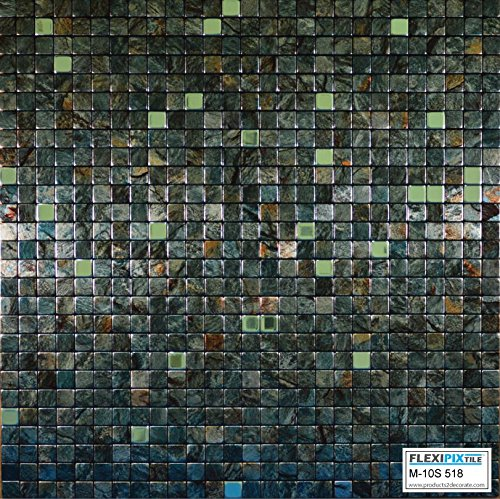 FLEXIPIXTILE, Modern Aluminum Mosaic Tile, Peel & Stick, Backsplash, Accent Wall, 1 sq.ft. CAMO M10S518-Camo