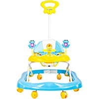 Baybee Stylish Baby Walker Music & Light Function With 3 Position Height Adjustable With Control Push Bar (Blue)