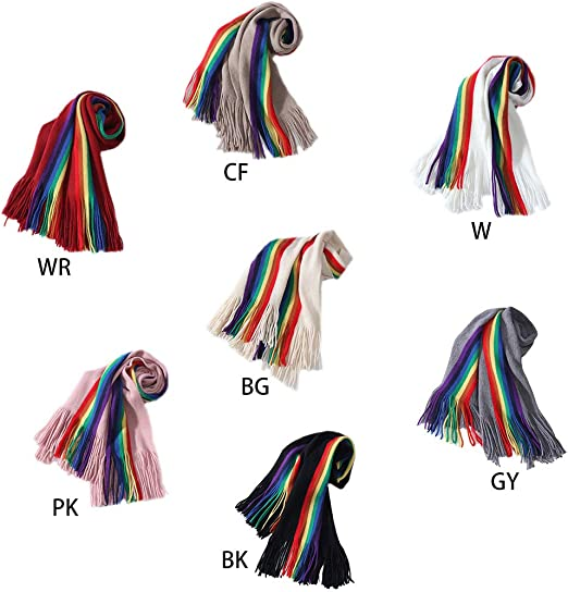 ladies pretty striped multi-coloured warm scarf wrap pashmina shawl NEW