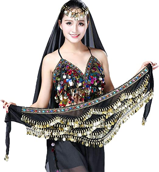 3 Row Belly Dance Hip Wrap Scarf Skirt Belt Dancing Costume with Gold Coins/&Bead