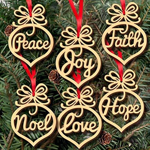 Prettywan 30 Pcs Christmas Pendant Wooden Ornament Xmas Tree Hanging Tags Pendant Decor