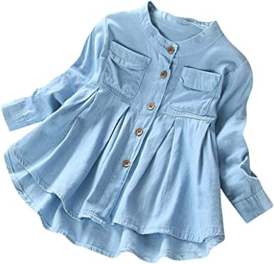 Kids Baby Striped Long Sleeve Shirts Jeans Skirt Outfits Toddler Denim Blue Suit