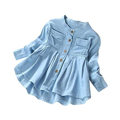 b390a91916fd0 Amazon.com  💗 Orcbee 💗 Toddler Kid Baby Girls Tutu Skirt T-Shirt Denim  Dresses Ruched Long Sleeve Tops Blouse Clothing 0-8T  Clothing