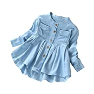 Hattfart Kids Baby Girls Ruffled Hem Denim T Shirt Tops Long Sleeve Casual Princess Blouses
