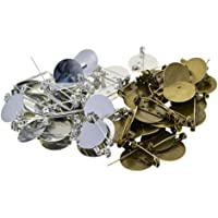 Prettyia 100 Pieces Bronze and Silver Brooch Clasps Pin Base Blank Trays Backs fit 20mm Round Cabochons for DIY Badge…