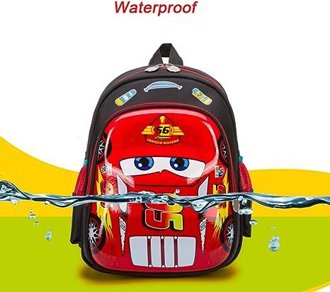 JKAINI Mochilas para Niños Dibujos Animados Anime Cars Mochila De Estudiante Impresa,Red-OneSize