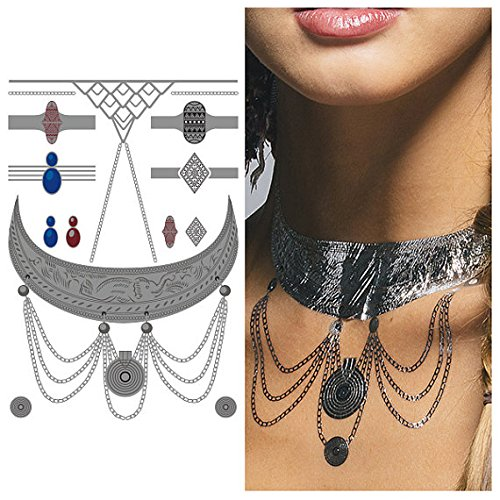 Tattify Silver Elephant Necklace Temporary Tattoo - Bali Sheet 2 (Set of 1 sheet) - Other Styles Available and Fashionable Temporary Tattoos