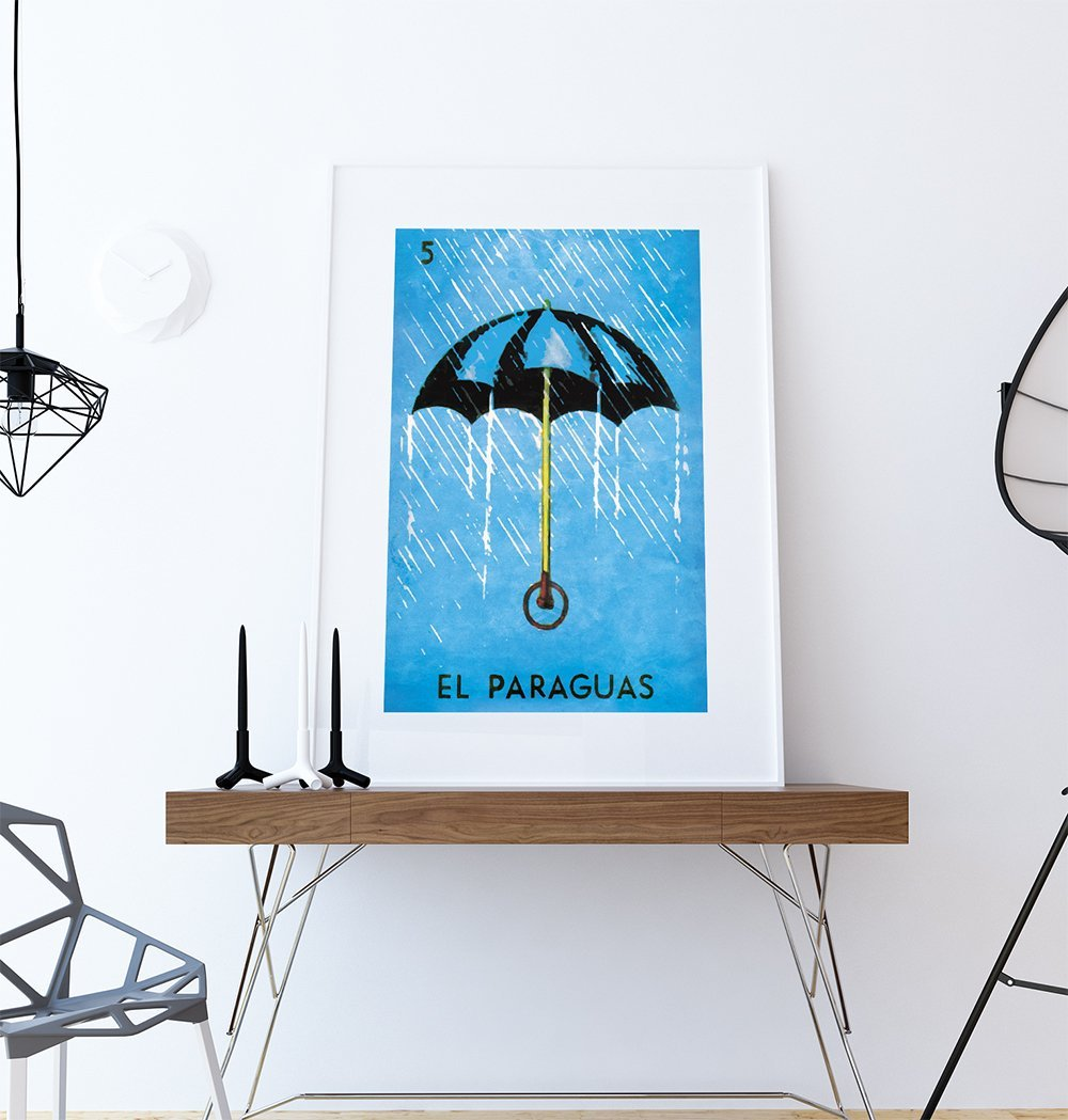 Amazon.com: Loteria El Paraguas Mexican Retro Illustration Art Print Vintage Giclee on Cotton Canvas and Paper Canvas Poster Wall Decor: Handmade