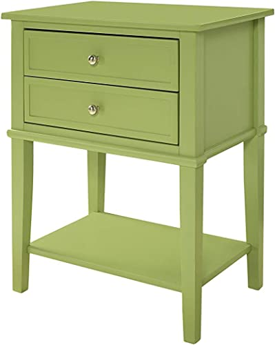 Accent End Table with 2 Storage Drawers – Bedroom Nightstand – Contemporary Living Room Colroed Side Table Green