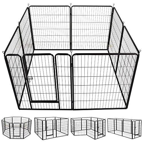 Yaheetech 40-Inch 8 Panel Heavy Duty Pets Playpen Dog Exercise Pen Cat Fence with Door Puppy Rabbits Portable Play Pen,Outdoor & Indoor,Black