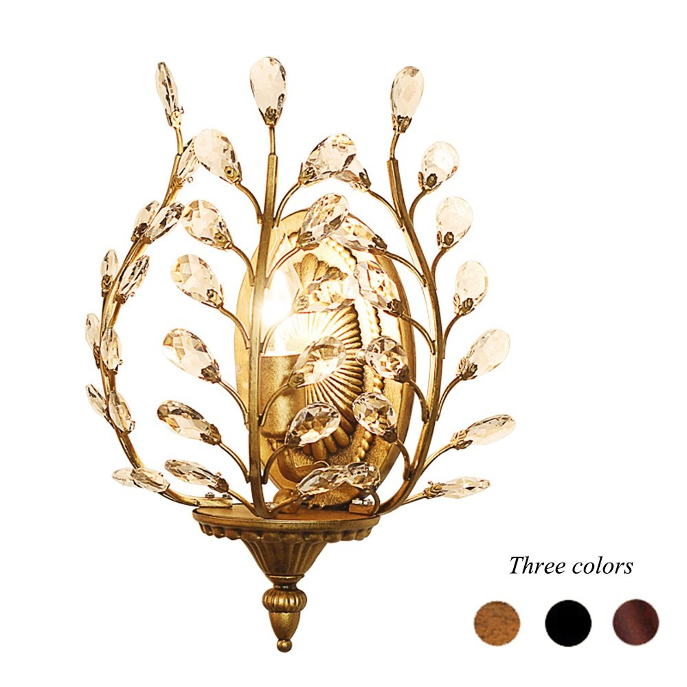 K9 Crystal Wall Lamp American Country Iron Wall Lights Bedroom Bedside Lamp Creative Luxury Aisle Lamp ( Color : Bronze )