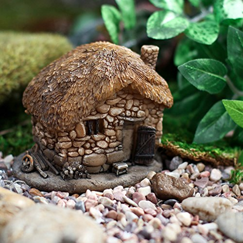 Fairy Garden Gnome Home with Resin Stone Walls, Thatched Look Roof, Accented Miniature Delights Review