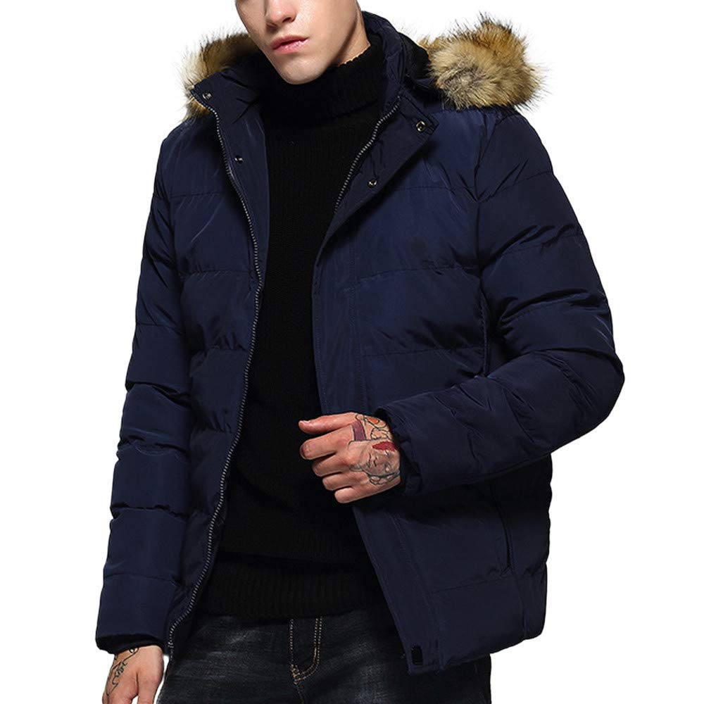 Nevera Men Fashion Hoodie Pure Color Thickened Cotton Padded Jacket Coat