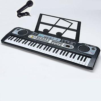 QXMEI Teclado para Principiantes para Niños con Micrófono Adaptador De Corriente Soporte para Música Teclado De Piano con 61 Teclas con Juguetes Eléctricos ...