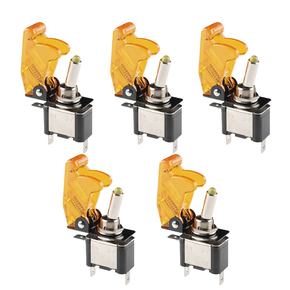E Support™ Car Yellow Cover Yellow LED Toggle Switch Pack of 5