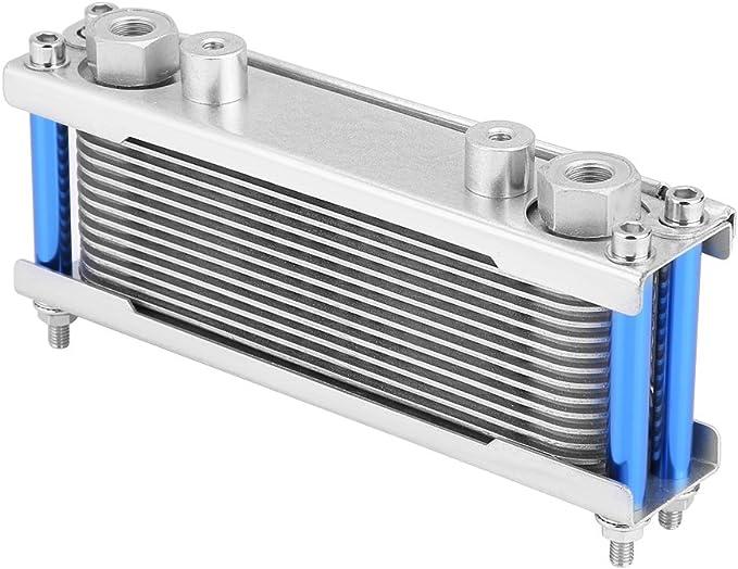 Qii lu Radiatore olio Upgrade Alluminio Moto Radiatore olio motore Radiatore raffreddamento 50CC-200CC Universale Silver