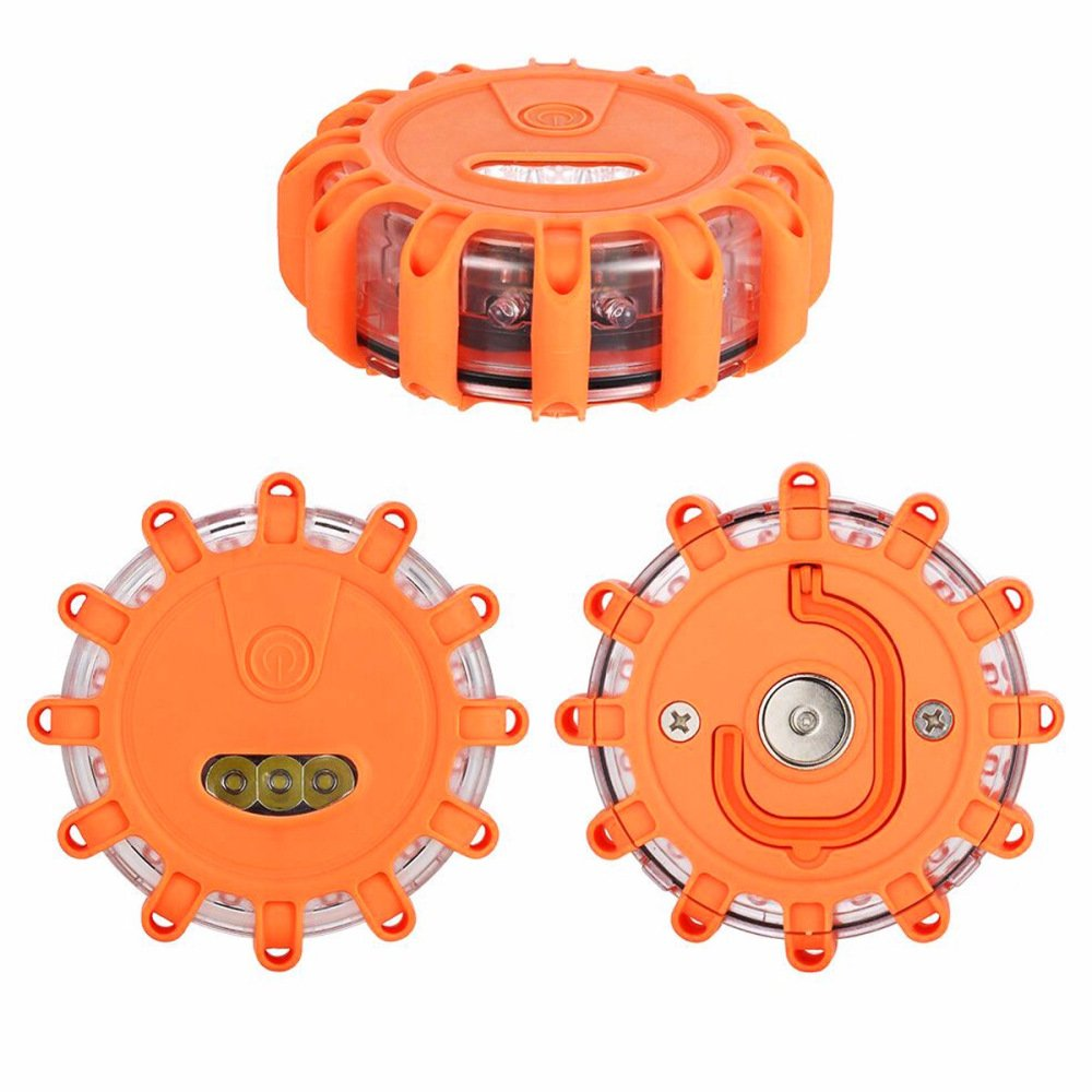 Road Flares Hazard Disc Roadside LED Emergency Flashing Warning LED Light Kit with 9 Warning Lighting Modes & Magnetic Base for Car Boat RV and Outdoor Camping Hiking Pack of 3 Orange