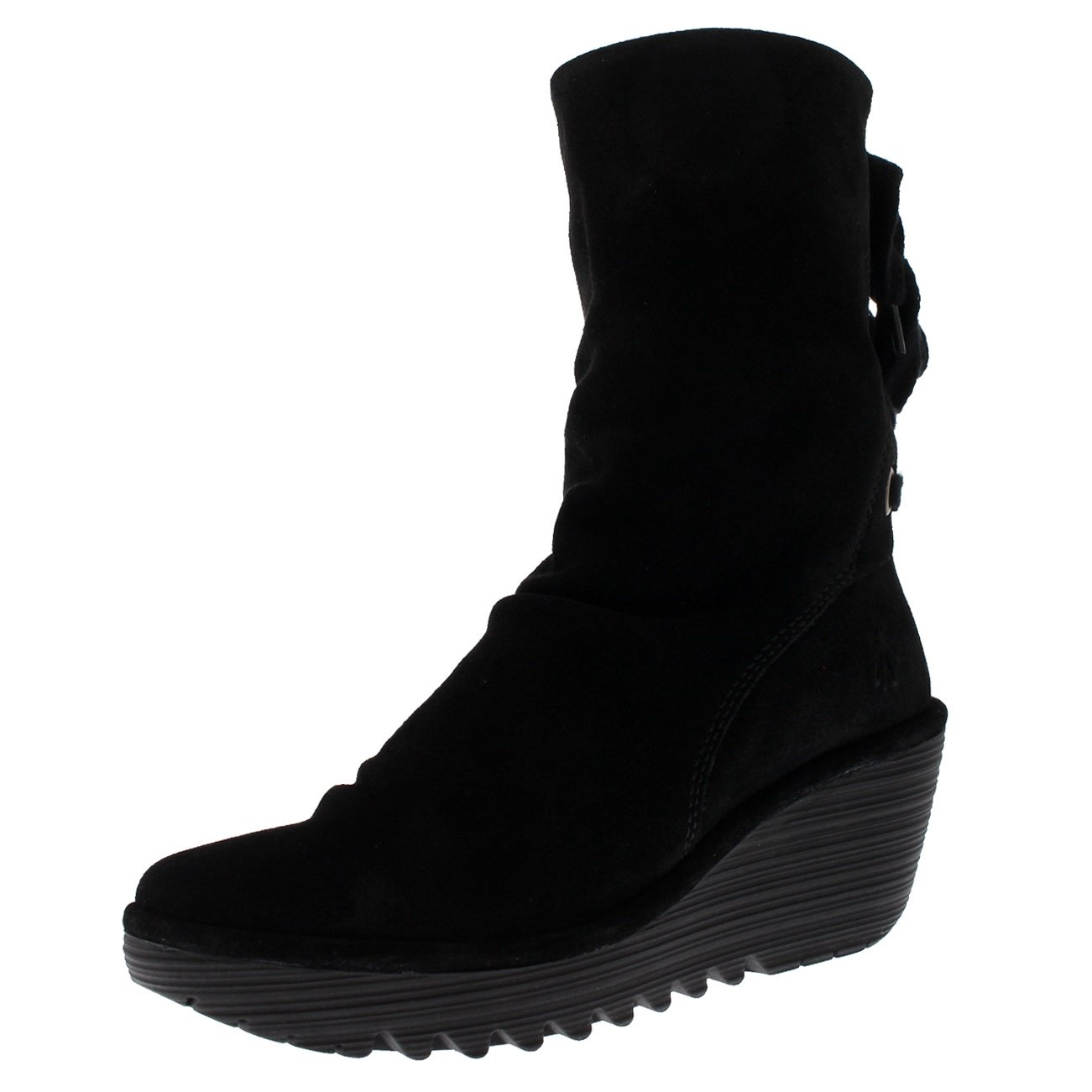 Womens Fly London Yada Wedge Heel Oil Suede Black Winter Mid Calf Boots - Black - 5 by FLY London (Image #1)