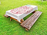 Ambesonne Educational Outdoor Tablecloth, Apple with School Symbols Basic Formulas Exercise Study School Theme, Decorative Washable Picnic Table Cloth, 58 X 120 inches, Red Forest Green