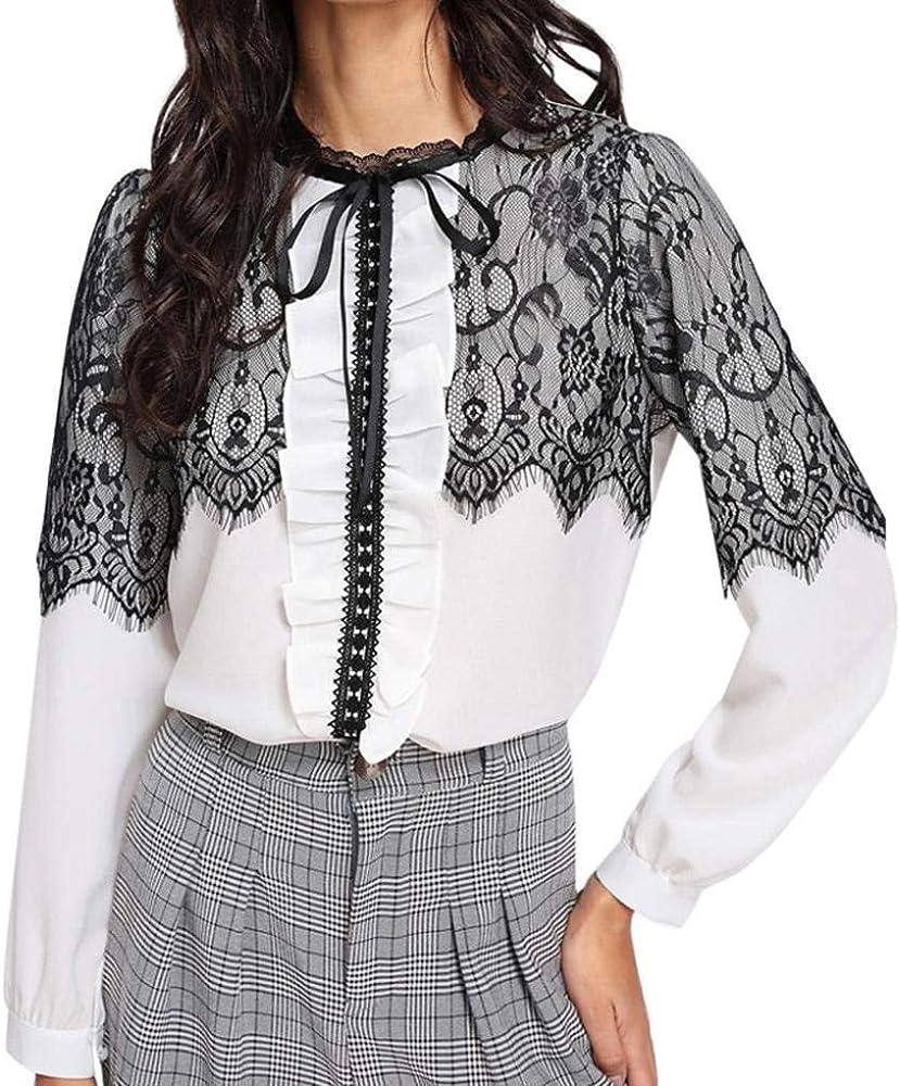 Betrothales Sudadera para Mujer Camisas Elegante Blusas Gasa Encaje Patchwork V: Amazon.es: Ropa y accesorios