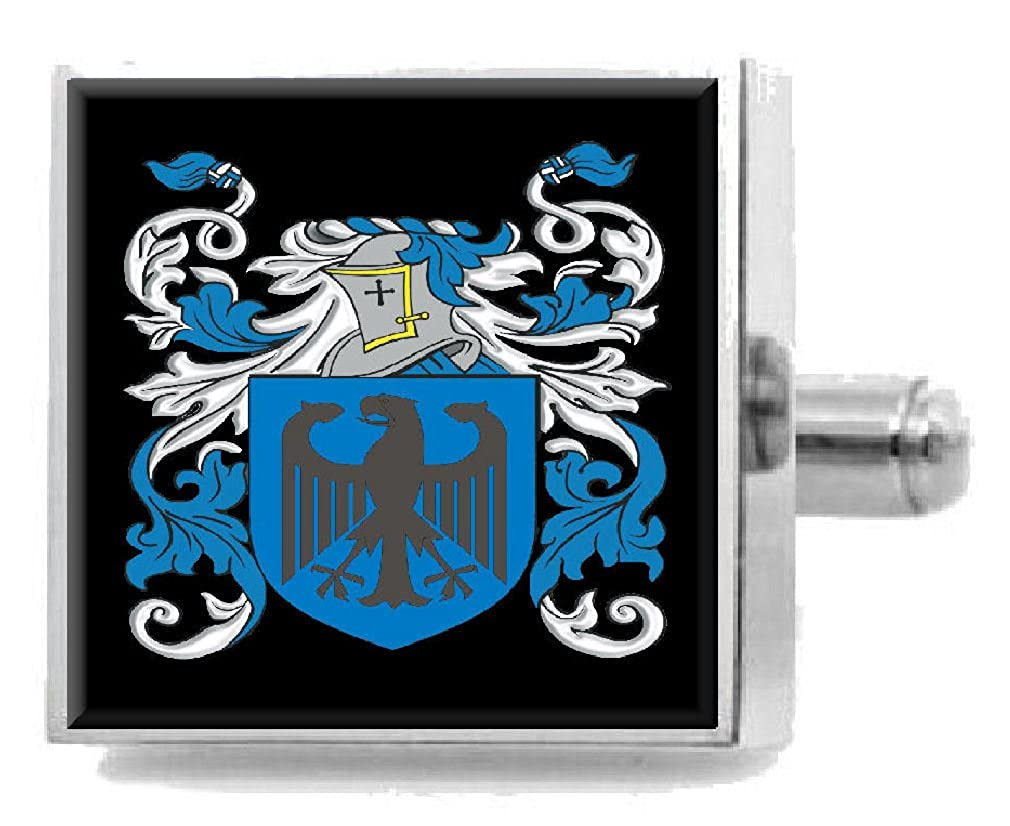 Select Gifts Nodwell England Family Crest Surname Coat Of Arms Cufflinks Personalised Case