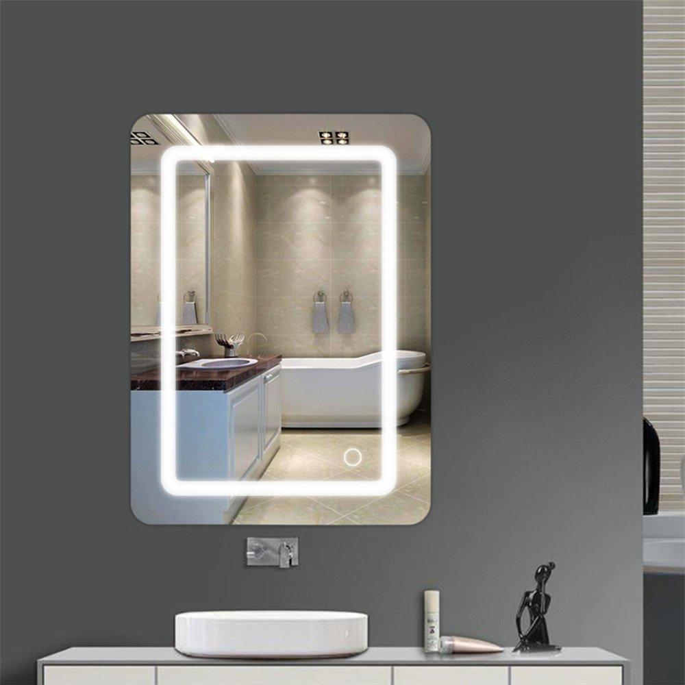 Wefun 500  700  40mm Badspiegel mit Beleuchtung,Badezimmerspiegel mit Beleuchtung,Badezimmerspiegel LED Touch