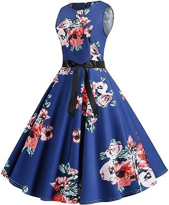 Aiserkly 2019 moda damska vintage lata 50-te retro bez rękawÓw O Neck Print wieczÓr impreza Prom Swing Dress ciemnoniebieski L: Odzież