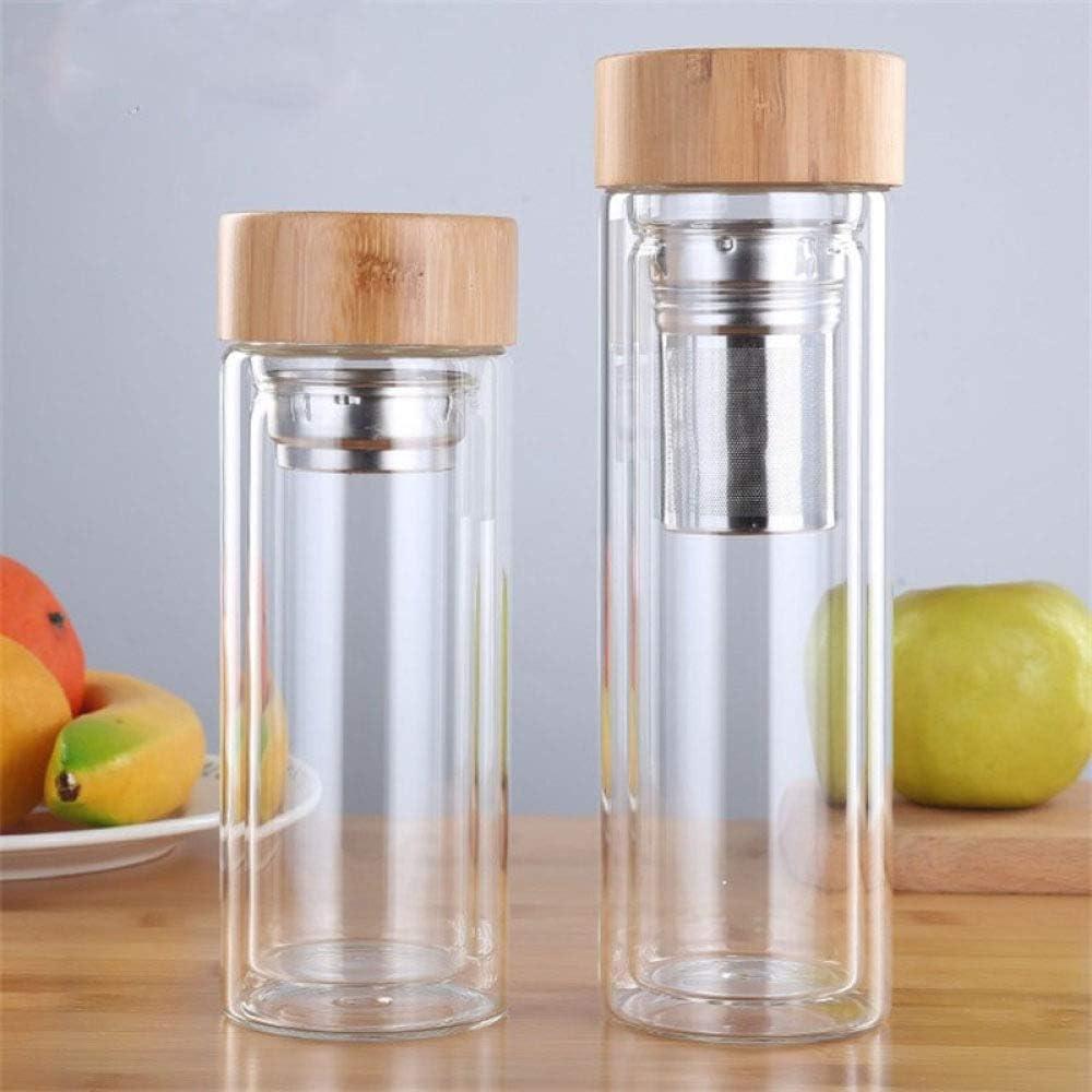 GEZHU Termo de la Taza 350 / 450ml Botellas de Vidrio de Doble Pared de Agua con Filtro de Acero Inoxidable y la Tapa de bambú Té Infuser Botella de Bebida de Vidrio, 350ML de Práctico Vaso Aislante
