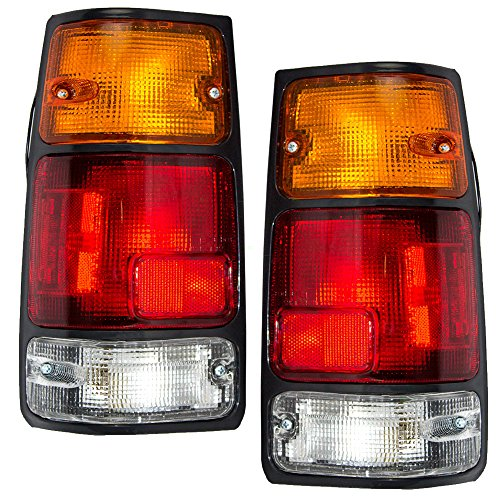 Driver and Passenger Taillights Tail Lamps w/Black Trim Replacement for Isuzu Honda Pickup Truck 8971210730 8971210720