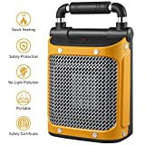 Portable Space Heater, PLEMO Electric Air Heater Mini Ceramic Heater with Adjustable Thermostat, 1000 W/1500 W, Overheating & Tip-Over Protection, Carrying Handle for Desk Floor Office Home Use