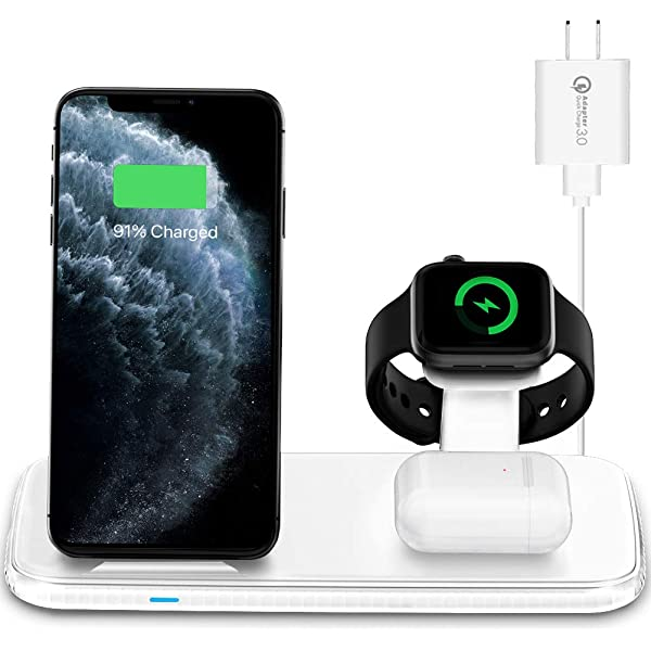 Amazon Com Intoval Wireless Charging Station For Apple Watch Iphone Airpods Iwatch 6 Se 5 4 3 2 Iphone 11 Pro Max Xs Max Xr X 8 Plus Airpods Pro 2 1 With Ac Adapter