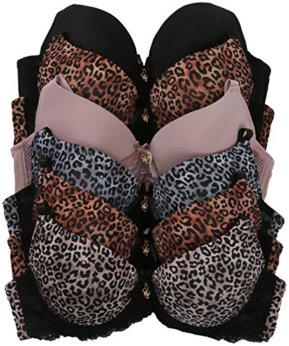 Leopard Lace Bra (ToBeInStyle Women's Pack Of 6 Full Cup Leopard Print Lace Detail Bras - 38C)