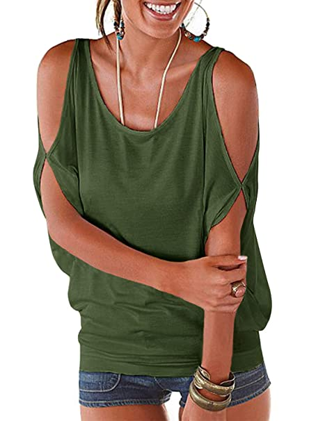 c10a3edcceca91 Army Green Summer T Shirt Women Short Sleeve Cold Shoulder Loose Fit  Pullover Casual Top