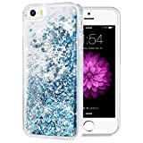 iPhone 5/5S/SE Case, Caka iPhone SE Glitter Case Luxury Fashion Bling Flowing Liquid Floating Sparkle Glitter Soft TPU Case for iPhone 5/5S/SE - (Blue)