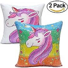 "Foozoup Unicorn Throw Pillow Cover Mermaid Sequins pillowcase Reversible pillows Decorative Cushion Covers 16""x16"" (Rainbow Unicorn/White)"