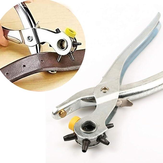Piel Rotatorio herramienta de troquel perforador alicates agujero redondo Haga perforadora Cintur/¨/®n perforadora Power Assist Piel reparaci/¨/®n de perforaciones para la correa de cuero de la tarjeta de