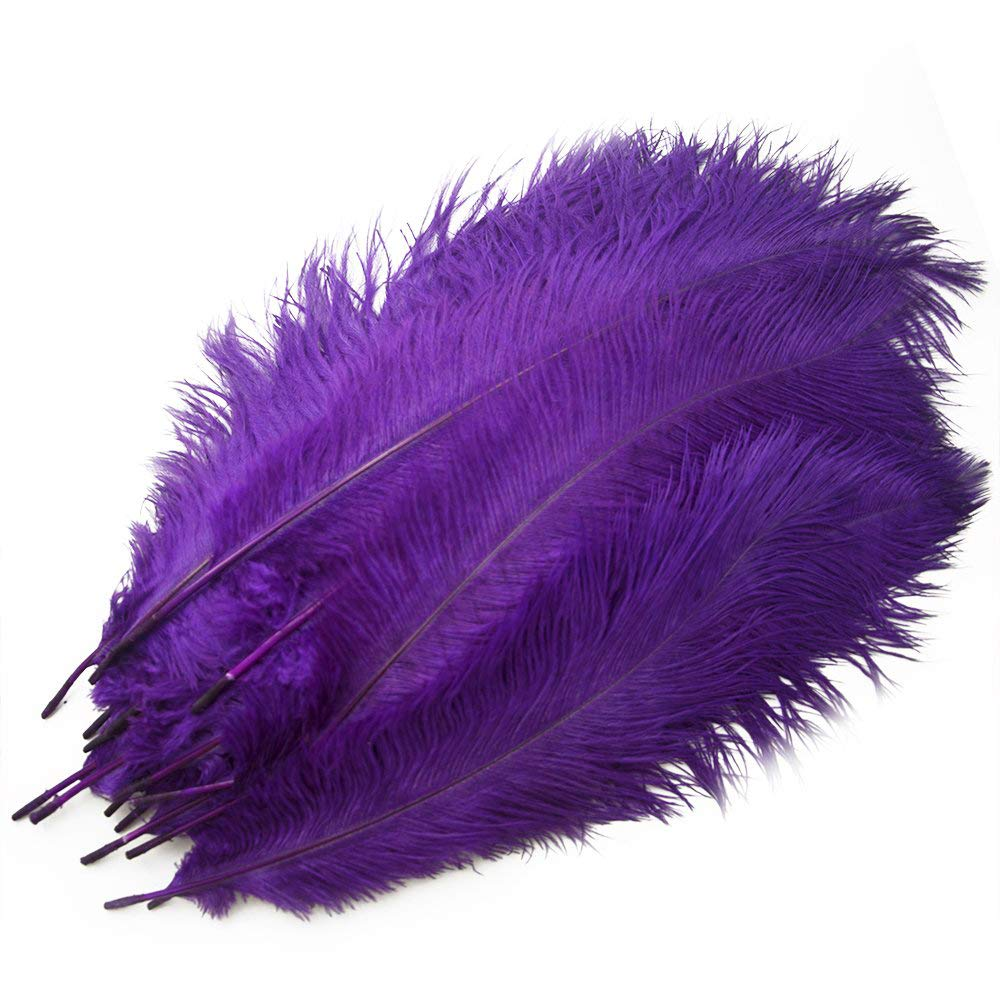 Piokio 20 pcs Black Ostrich Feathers 12-14 inch(30-35 cm) for Wedding Centerpieces