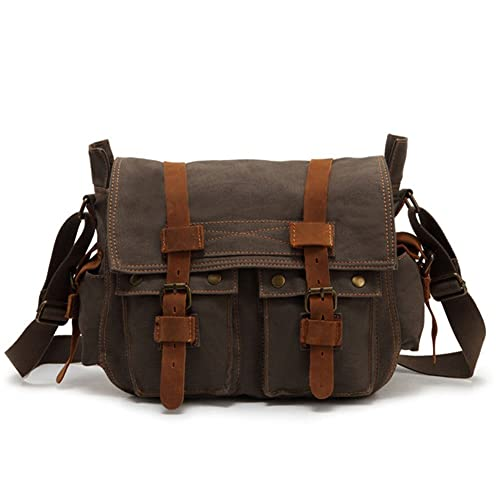Amazon.com: SILI Piel Canvas – Bolsa bandolera messenger ...