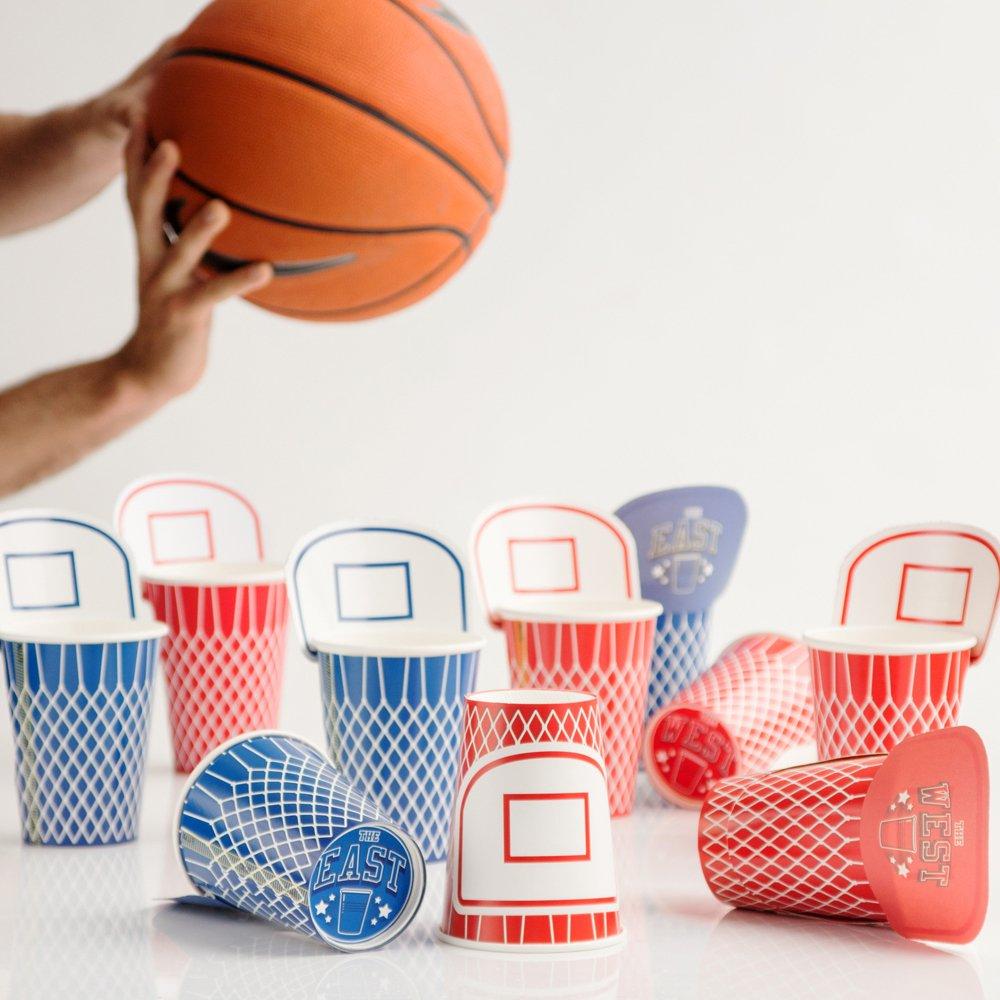 SUCK UK Vasos de Papel de Baloncesto, Rojo Y Azul, 11.2 x 9 x 9 cm ...