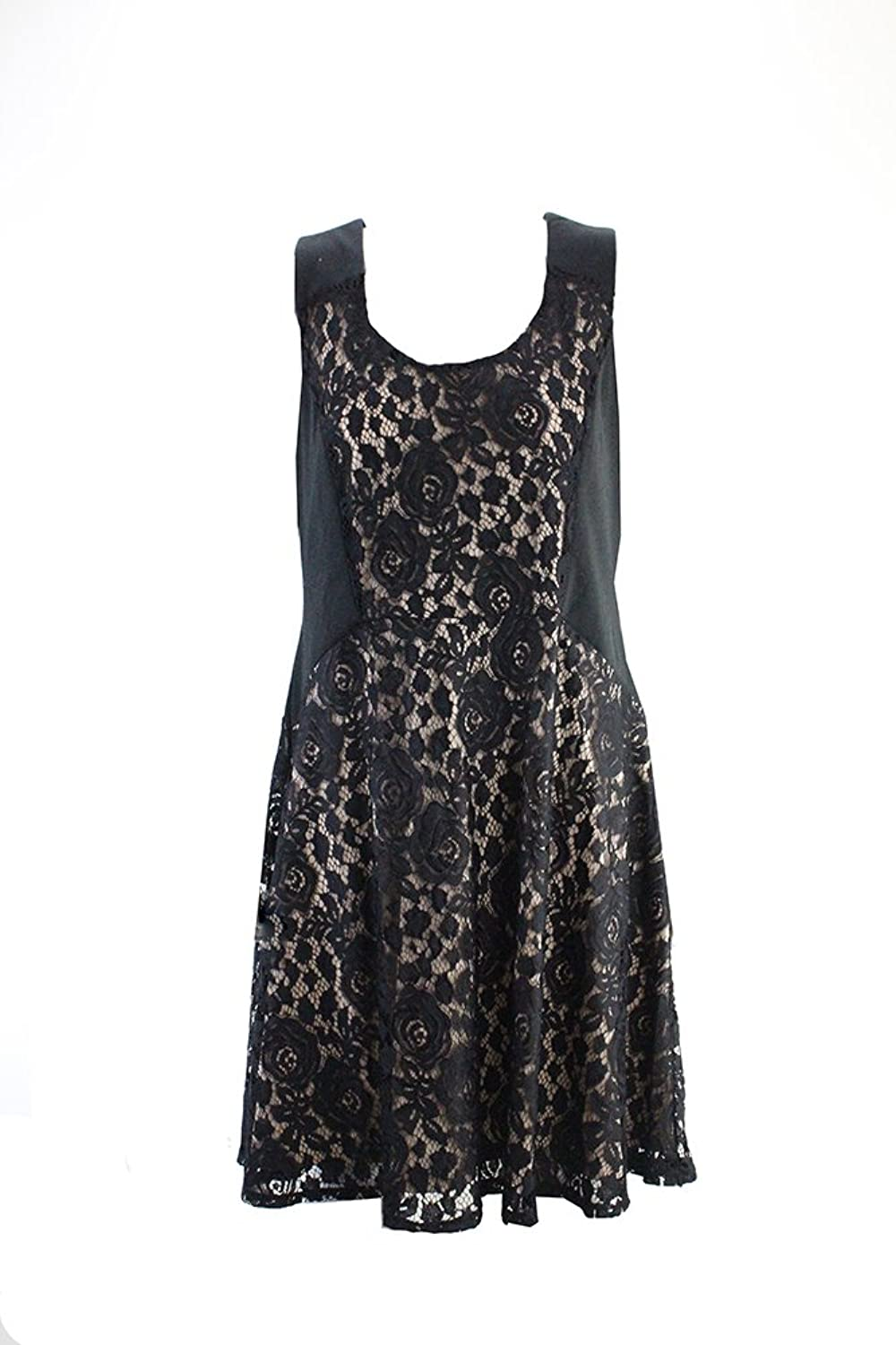 NY Collection Black Lace A-Line Dress Xl