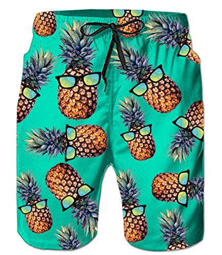 Male Quick Dry Pineapple Short Swim Trunks with Mesh Lining Knee Length Mens Bathing Suits L