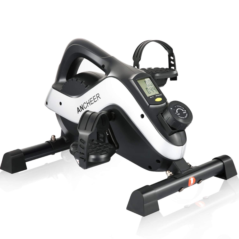 ANCHEER Under Desk Bike Pedal Exerciser – Mini Magnetic Stationary Exercise Bike for Home and Office Fitness, 2-in-1 Peddler Equipment for Knee Leg Arm Strength Training with LCD Monitor