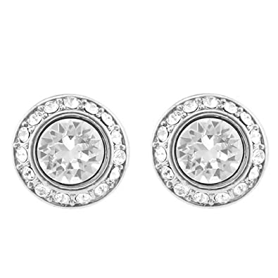 0f30b58b4ea1ce Image Unavailable. Image not available for. Color  CP Angelic Clear Crystal  Women Stud Earrings Made with SWAROVSKI Crystals