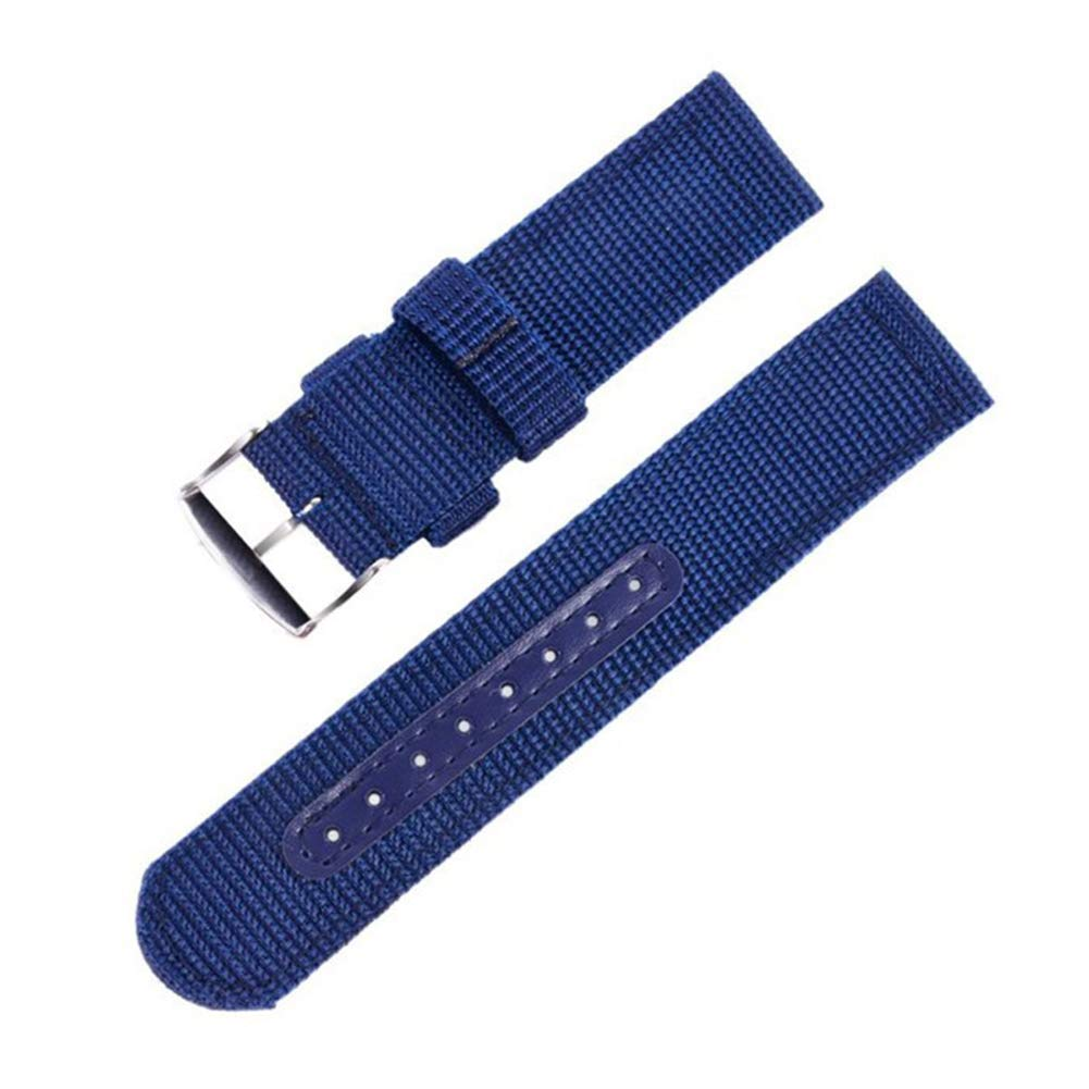 22mm Navy Blue Sports Canvas Watch Band for Sale 2 Piece Nylon Watch Strap Replacement Holes Tightened by Leather Strip