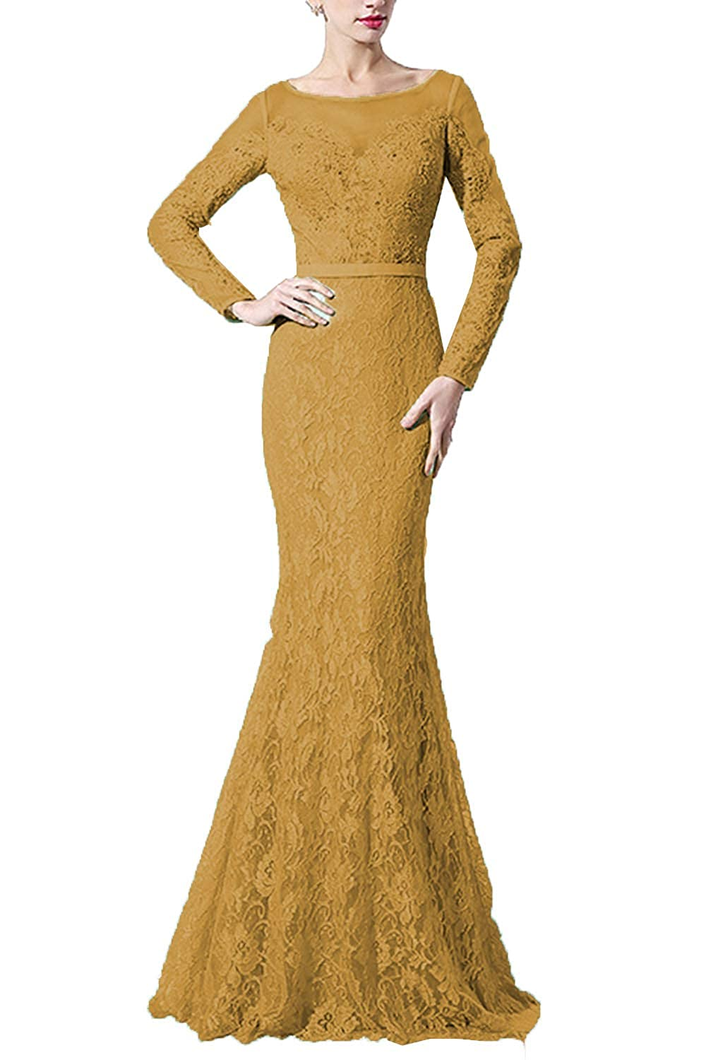 gold SDRESS Women's Lace Mermaid Evening Dress with Sleeves Crystal Beaded Formal Dress Long