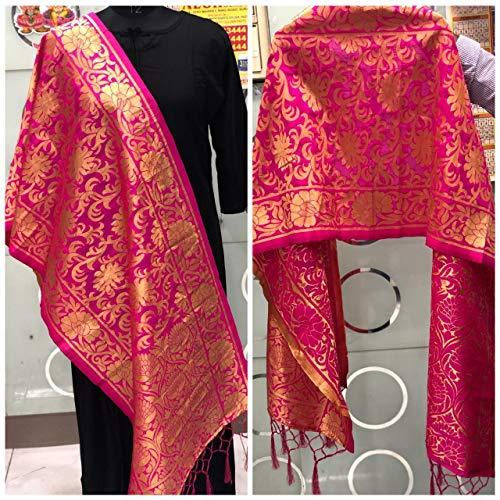 Indian Art Silk Woven Zari Brocade Long Stole Banarasi Dupatta Shawl Dark Pink (Pink) - Silk Scarf Brocade