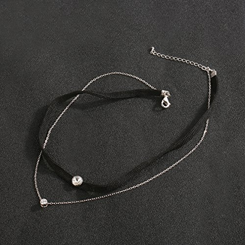 LOCHING Personality Elastic Black Cord Necklace Double Chain Necklaces Inlaid Zircon 925 Silver Double Collar Necklaces by LOCHING (Image #4)